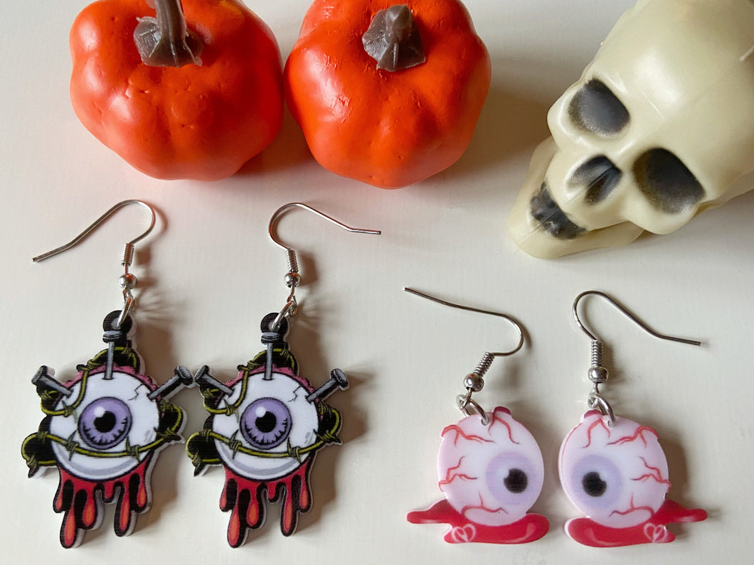 Eyeball Halloween Earrings: Scary Eye, Horror, Spooky, Anatomy