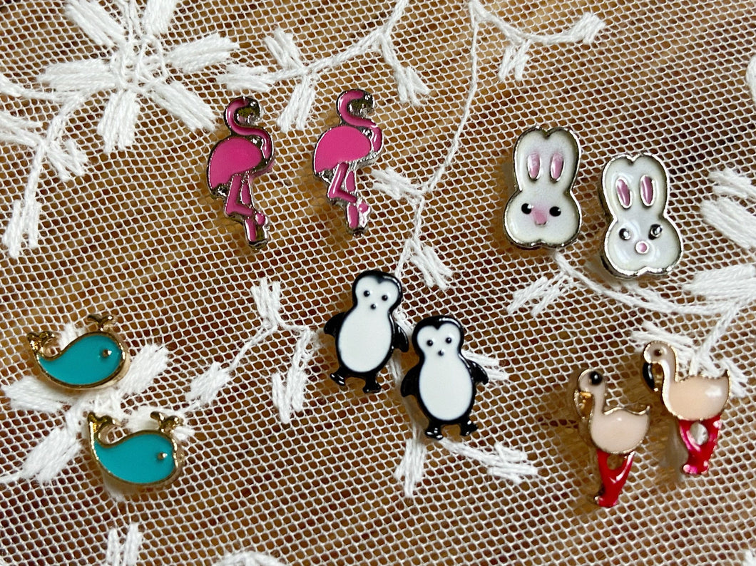 Animal Stud Earrings: Penguin, Bunny, Rabbit, Flamingo, Whale, Fish, Birds