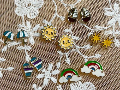 Weather Stud Earrings: Gloves, Sun, Pride, Rainbow, Boats, Umbrellas, Clouds