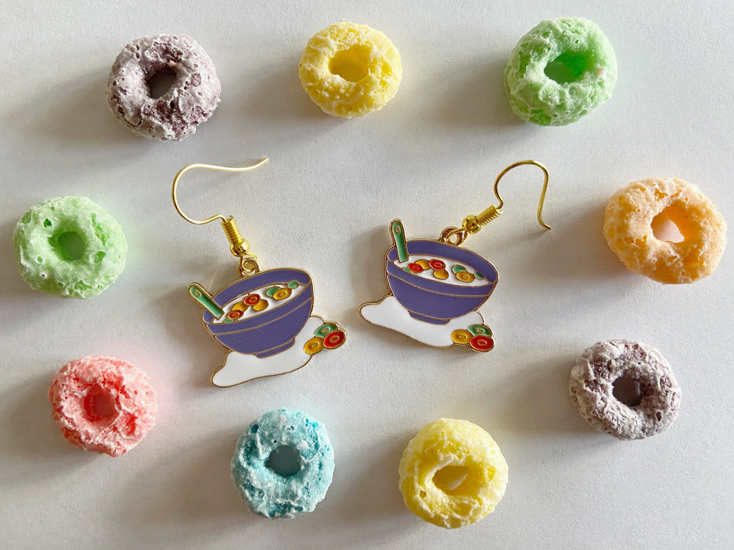 Froot Loops Inspired Earrings: Cereal, Breakfast, Bowl, Food