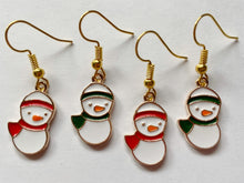Load image into Gallery viewer, Snowman Earrings: Christmas, Holidays, Snow, Winter, Scarf