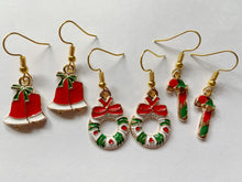 Load image into Gallery viewer, Wreath, Candy Cane & Bell Earrings: Christmas, Holidays, Bells, Winter