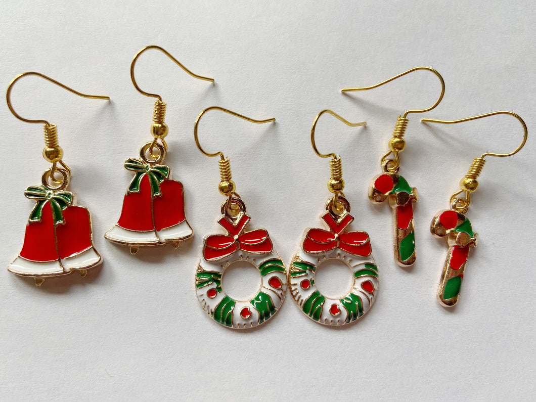 Wreath, Candy Cane & Bell Earrings: Christmas, Holidays, Bells, Winter