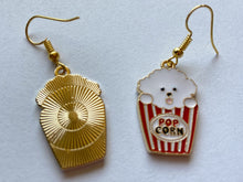 Load image into Gallery viewer, Popcorn Dog Earrings: Animals, Food, Snack, Movies, Cinema, Netflix & Chill