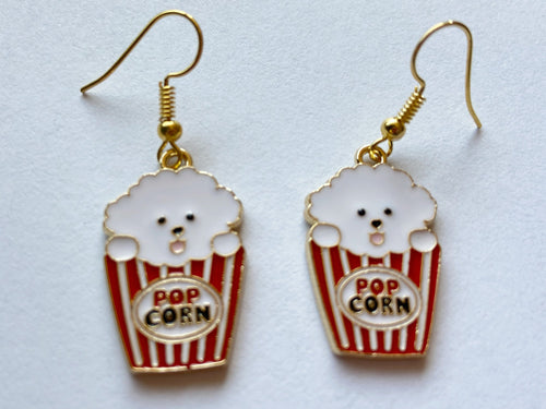 Popcorn Dog Earrings: Animals, Food, Snack, Movies, Cinema, Netflix & Chill