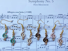 Load image into Gallery viewer, Treble Clef Music Note Earrings: Piano, Classical, Concert, Musical, Musician
