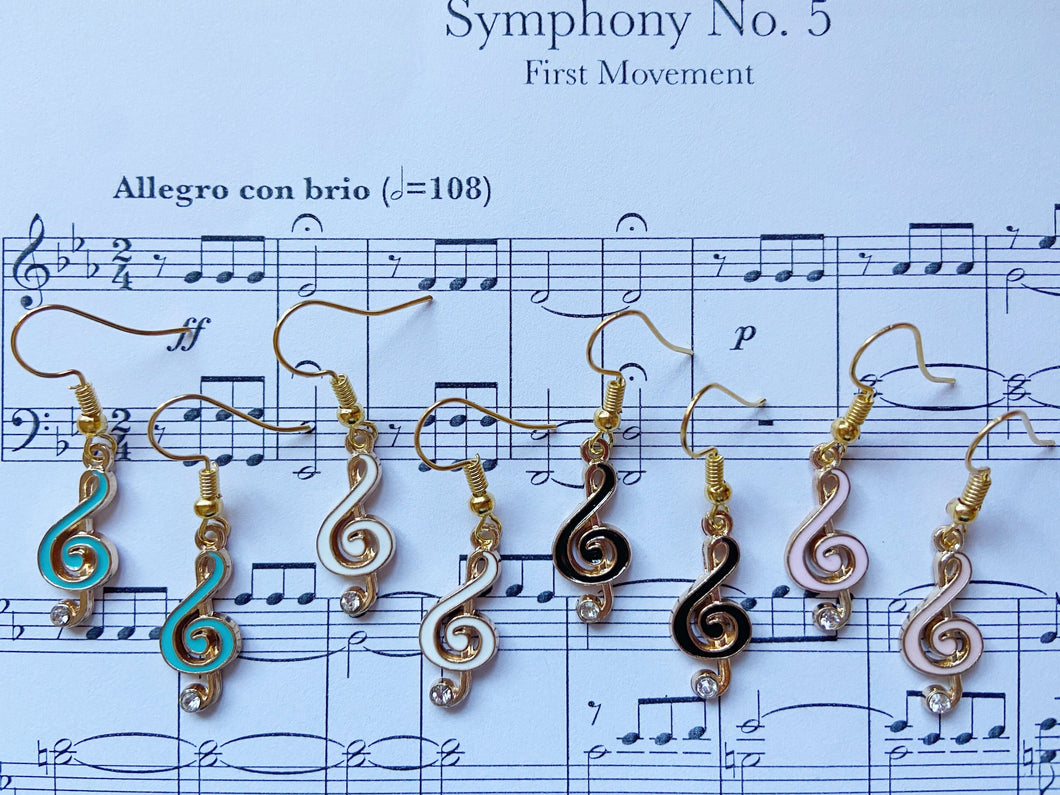Treble Clef Music Note Earrings: Piano, Classical, Concert, Musical, Musician