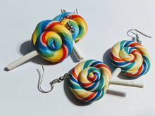 Load image into Gallery viewer, Lollipop Rainbow Earrings: Colorful Candy, Sweets, Dessert