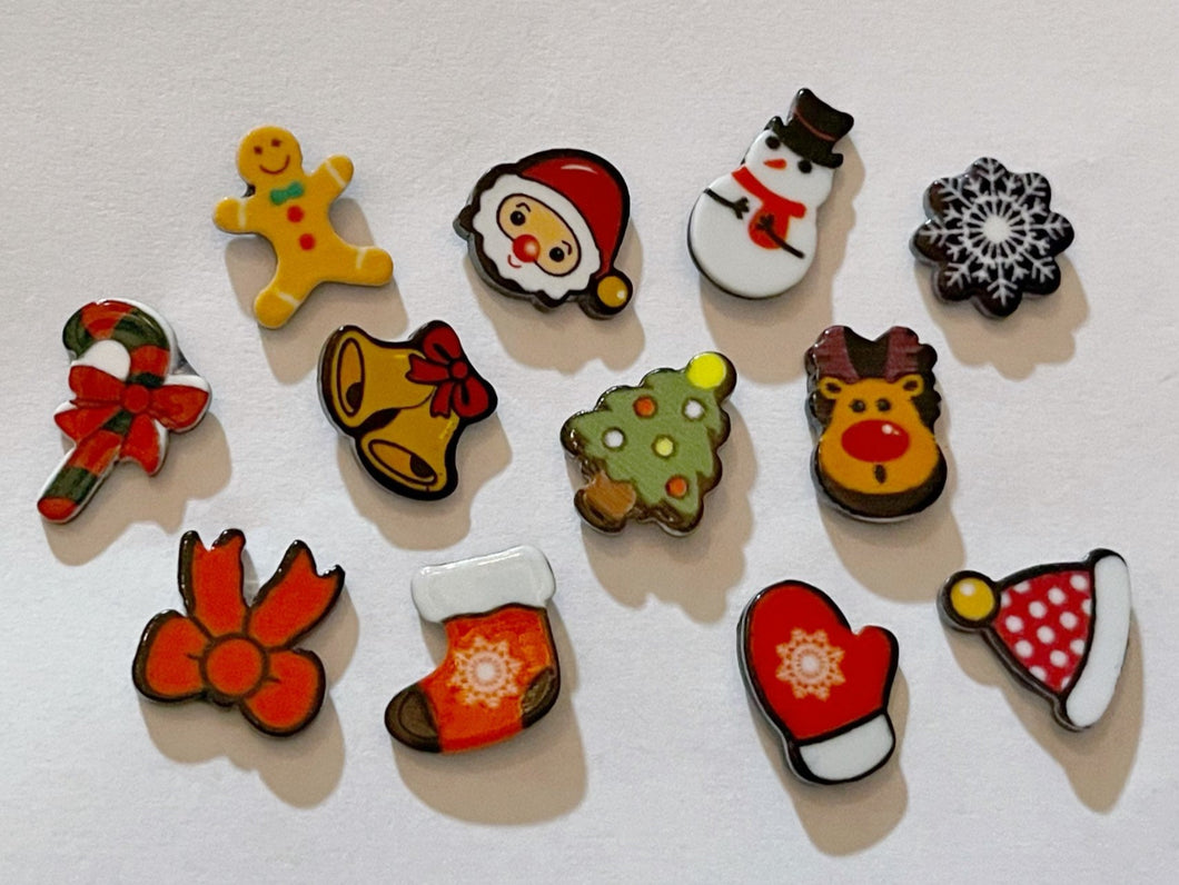 Christmas Stud Earrings: Santa, Snowflake, Bells, Gingerbread Man, Winter, Gloves