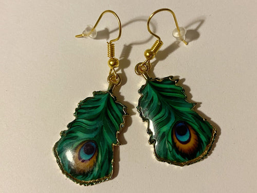 Peacock Feather Earrings: Colorful, Bird, Flamboyant