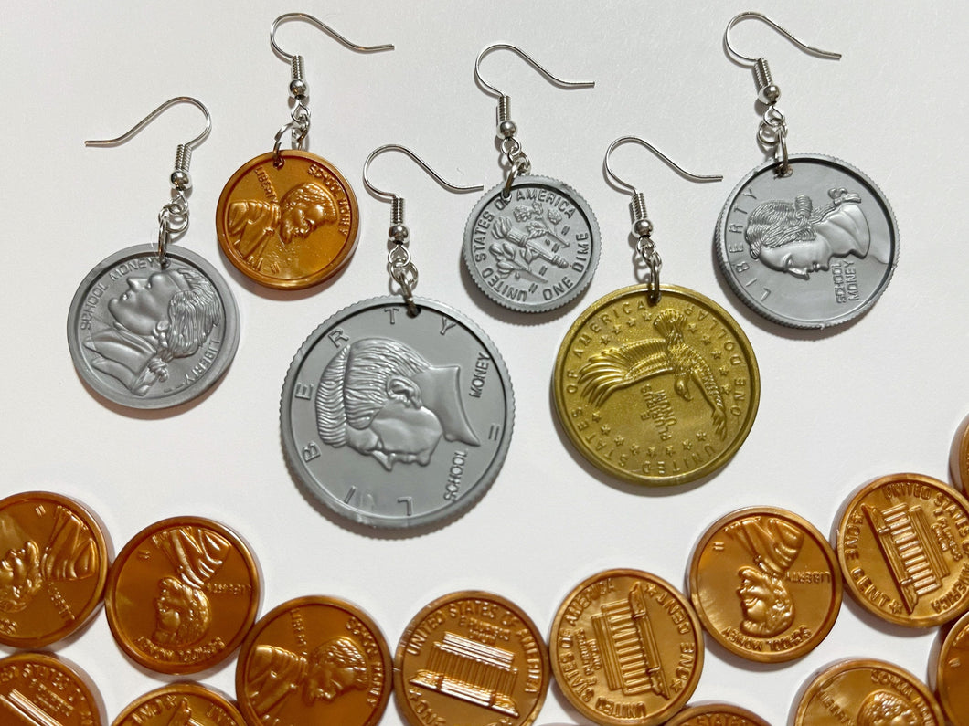 US Coin Earrings: Money, Dollar, Penny, Quarter, Dime, Nickel, USA Currency