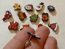 Load image into Gallery viewer, Christmas Stud Earrings: Santa, Snowflake, Bells, Gingerbread Man, Winter, Gloves