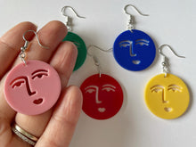 Load image into Gallery viewer, Face Earrings: Faces, Minimalism, Minimalist, Cartoon Faces, Expression, Smile