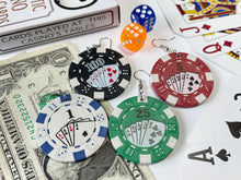 Load image into Gallery viewer, Poker Chip Earrings (HEAVY): Casino, Cards, Game, Playing, Gamble