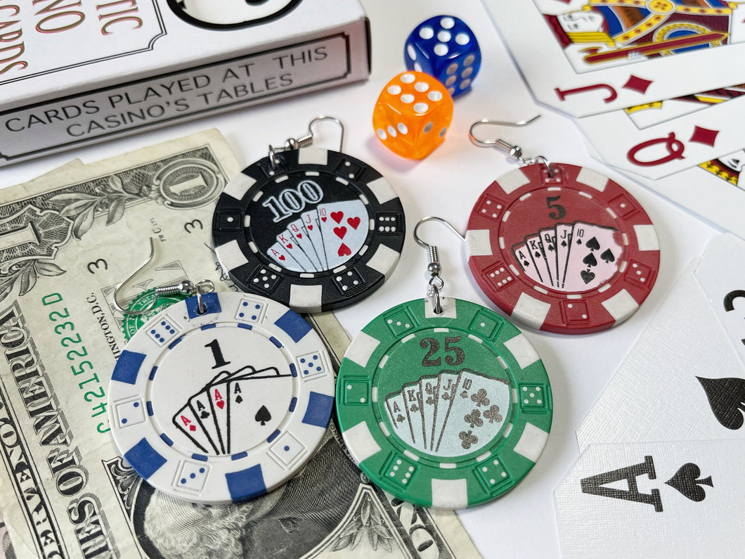 Poker Chip Earrings (HEAVY): Casino, Cards, Game, Playing, Gamble