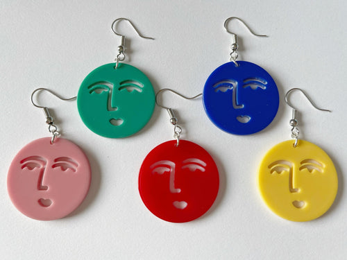 Face Earrings: Faces, Minimalism, Minimalist, Cartoon Faces, Expression, Smile