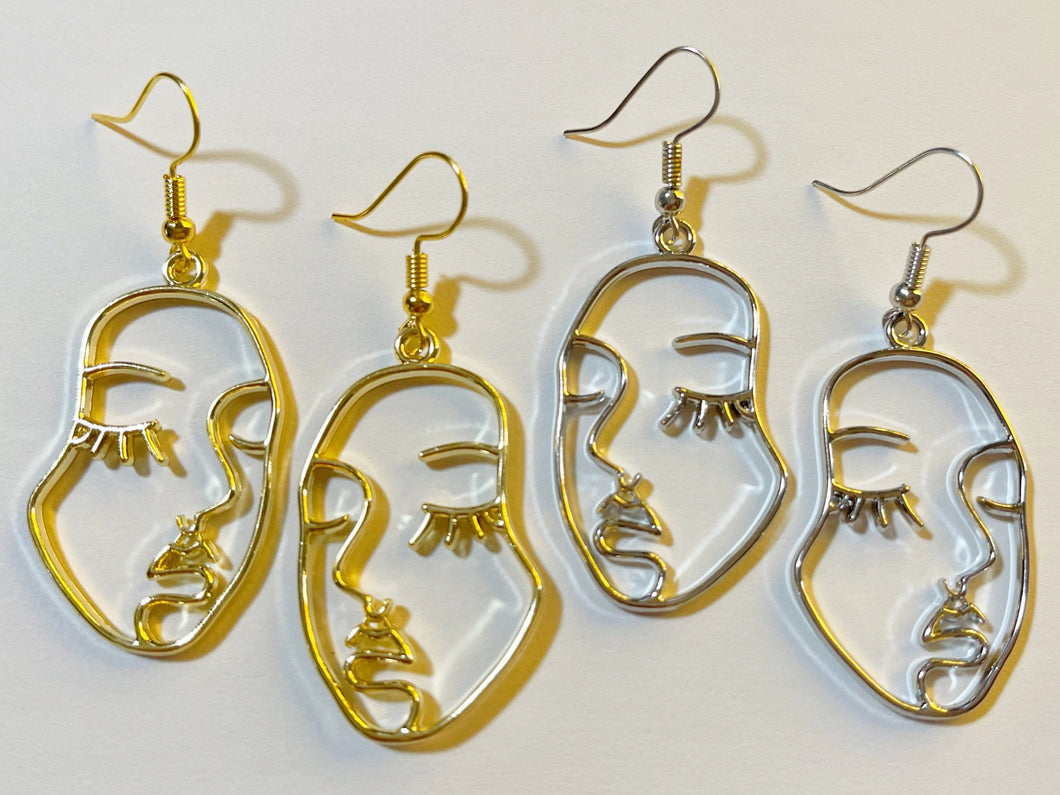Face Earrings: Beautiful Faces, Wire Faces, Minimalist Oulines