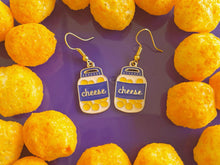 Load image into Gallery viewer, Cheese Ball Jar Earrings: Dairy, Food, Cow, Swiss Cheese Puffs