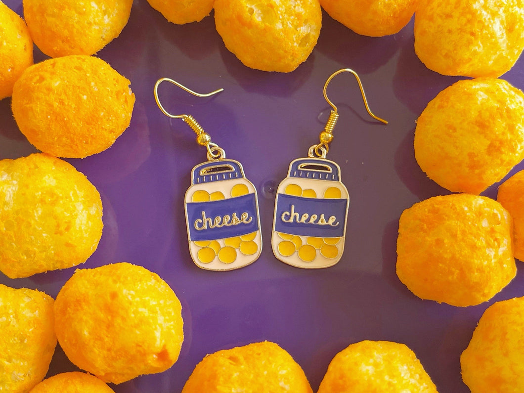 Cheese Ball Jar Earrings: Dairy, Food, Cow, Swiss Cheese Puffs