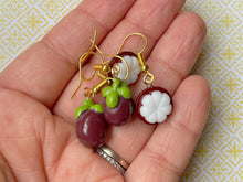 Load image into Gallery viewer, Mangosteen Earrings: Vietnamese, Fruit, Summer Vibes