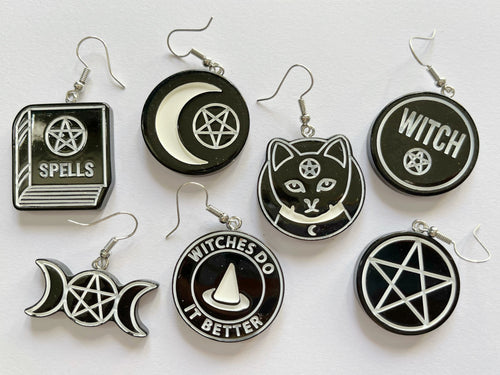 Witchcraft Earrings: Witch, Spells, Cats, Magic, Fortune Telling, Halloween
