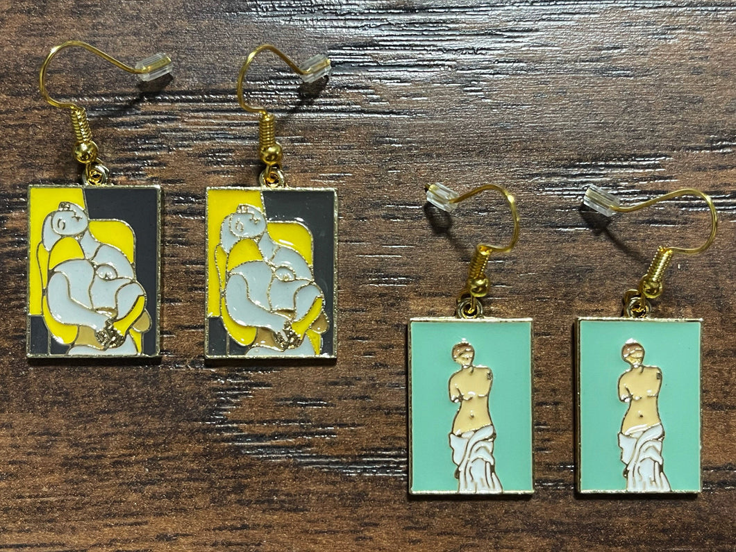Famous Painting Earrings: Venus de Milo, Yellow Lady Statue by Picasso