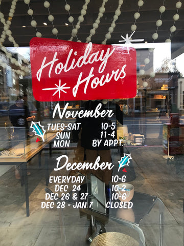 LAPIS Holiday hours hand painted by Clementine Art Department