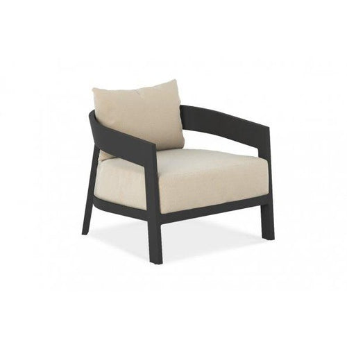 This beautiful oversized lounge chair in the perfect complement to other pieces in the Wailea Collection.  Available in a teak frame or powder-coated aluminum frame (white pearl or asteroid) and a variety of fabrics.  It has a fixed bottom cushion and a loose back cushion.