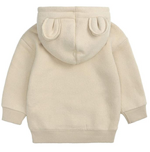 Load image into Gallery viewer, beige baby teddy bear hoodie with bear ears