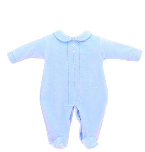 baby boy blue velour sleepsuit with collar