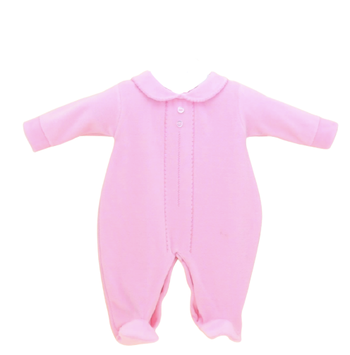 baby girls pink velour long sleeved sleepsuit