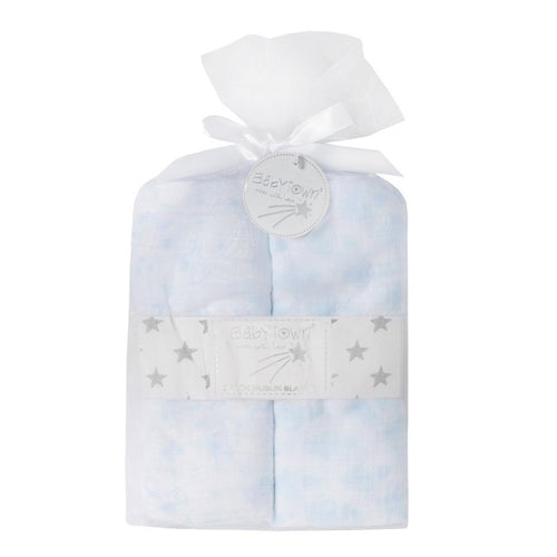 baby boys blue pattern muslin set