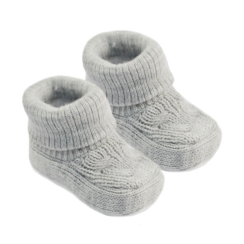 Grey knitted baby booties