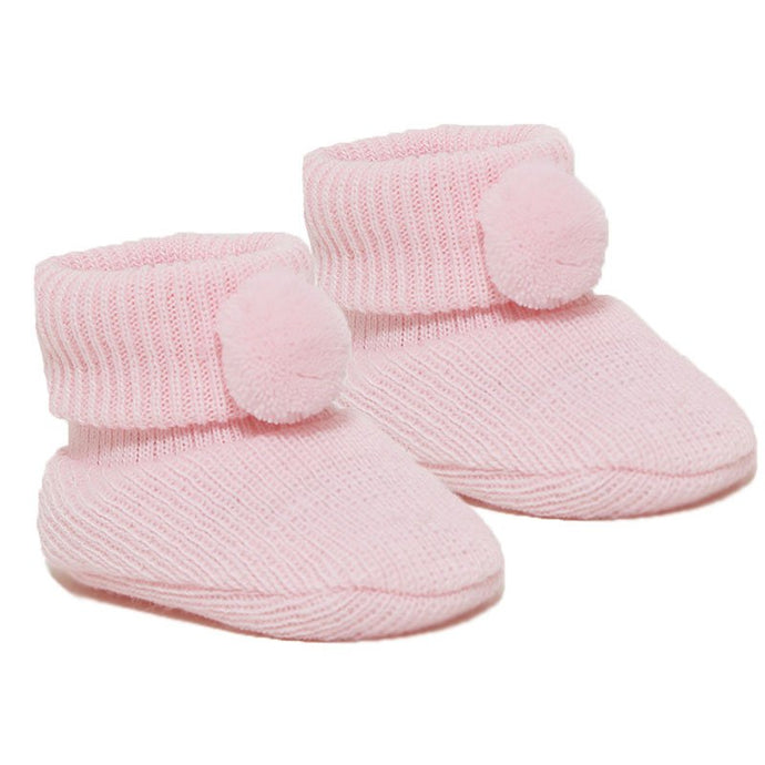 pink baby girl pom pom booties