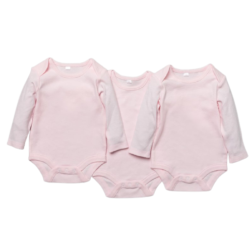 baby girl basic long sleeved pink bodysuit, pack of 3