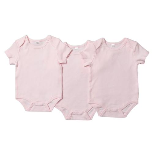 baby girl basic short sleeved pink bodysuit, pack of 3