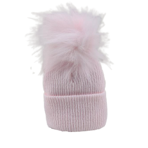 baby girls pink knitted single pom pom hat