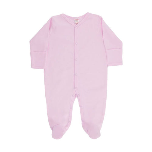 baby girl basic long sleeved pink sleepsuit with popper buttons