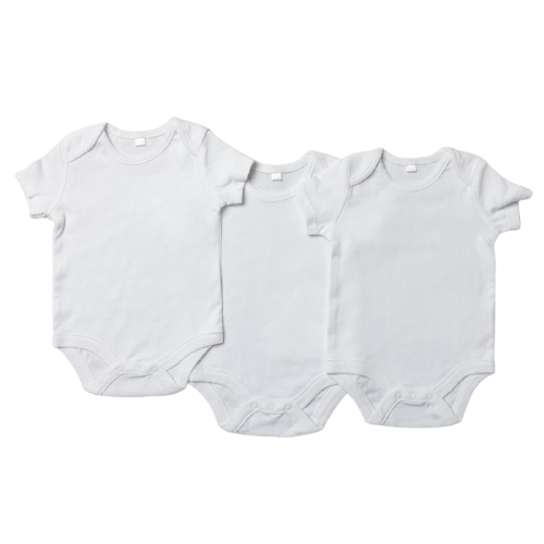 short sleeved white baby bodysuit, pack of 3