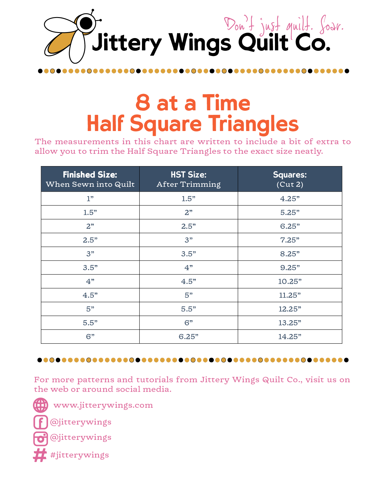 8 at a time half square triangle measurement chart from jittery wings