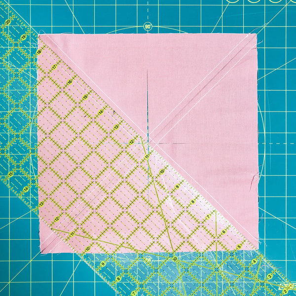 cutting 8 at a time half square triangles, how to make half square triangles, half square triangle tutorial