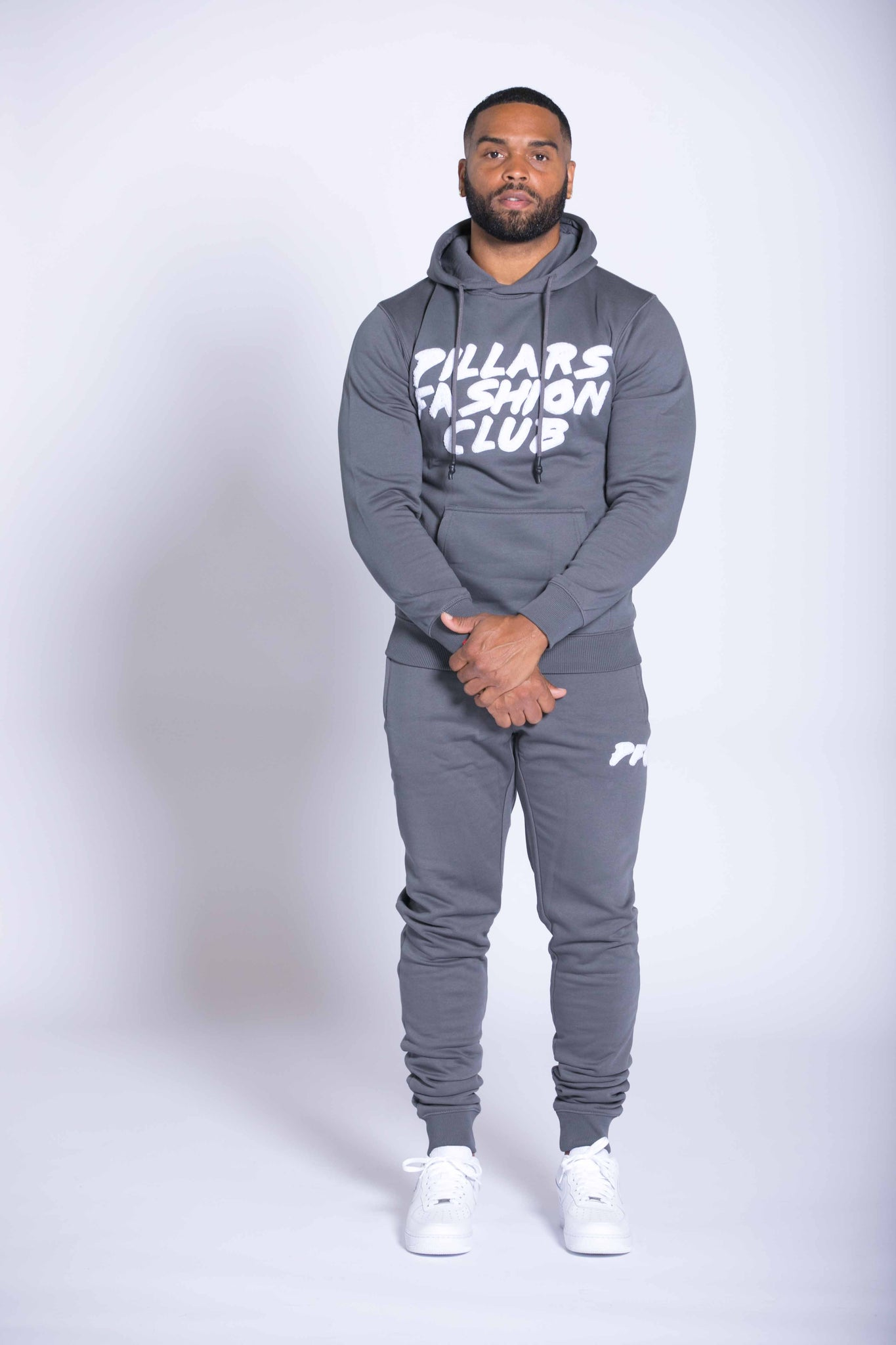 CLUB CHENILLE LOGO HOODIE | DARK GREY/WHITE