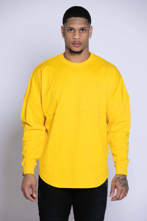 OVERSIZED OLD ENGLISH LONG SLEEVE TEE | OLD GOLD/BLACK