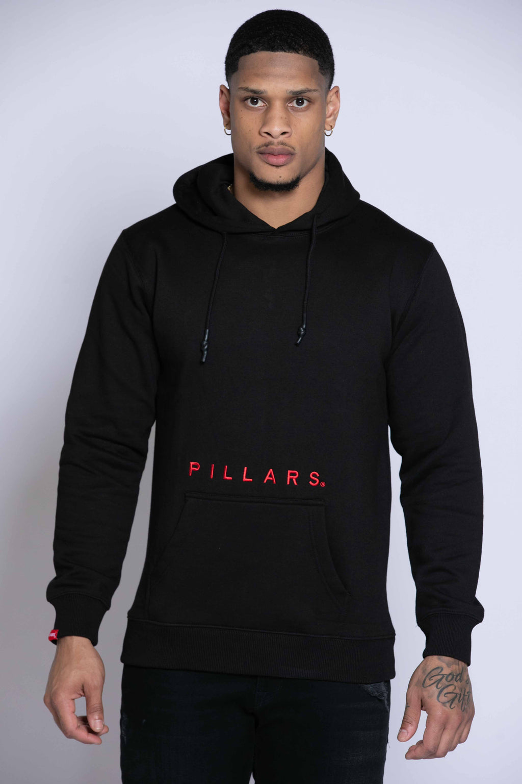SKELTON FINGER HOODIE | BLACK/RED