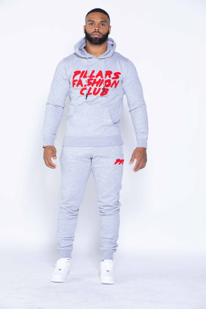 CLUB LOGO CHENILLE HOODIE | GREY/RED