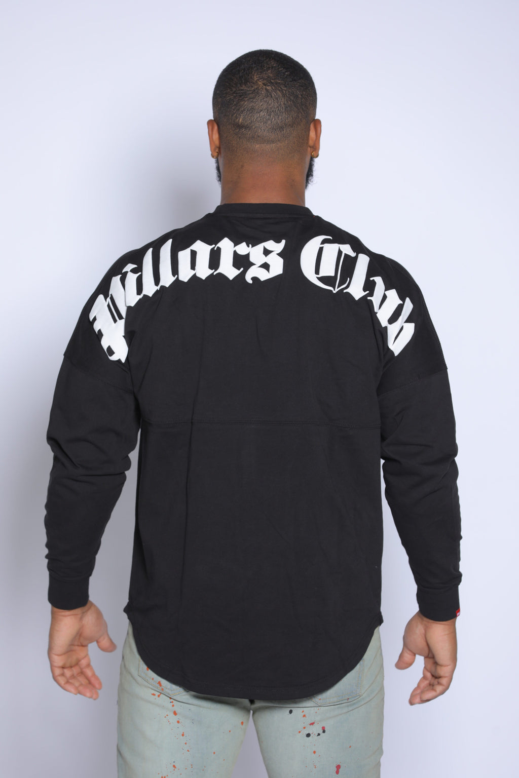OVERSIZED OLD ENGLISH LONG SLEEVE TEE BLACK/WHITE