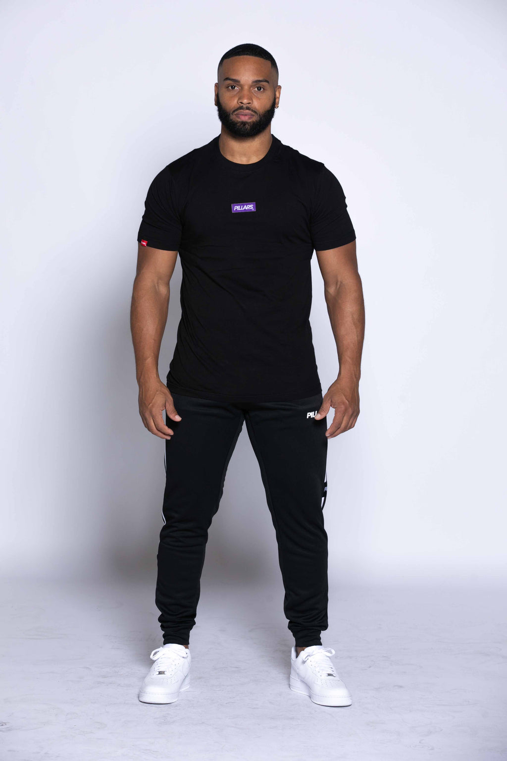 BOX LOGO TAG TEE I BLACK/PURPLE