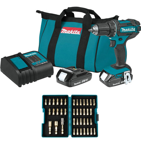 "Makita 18V LXT® Lithium-Ion Compact Cordless 1/2"" Driver-Drill Kit (1.5Ah) Set"