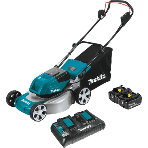 "Makita 18"" Residential Lawn Mower 36v Kit with 4 Batteries (5.0Ah)"