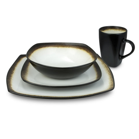 Kalorik Haus 16-Piece Brown and White Dinnerware Set - curved edges